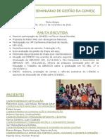 RELATÓRIO - Seminário da 1ª Gestão - 2011