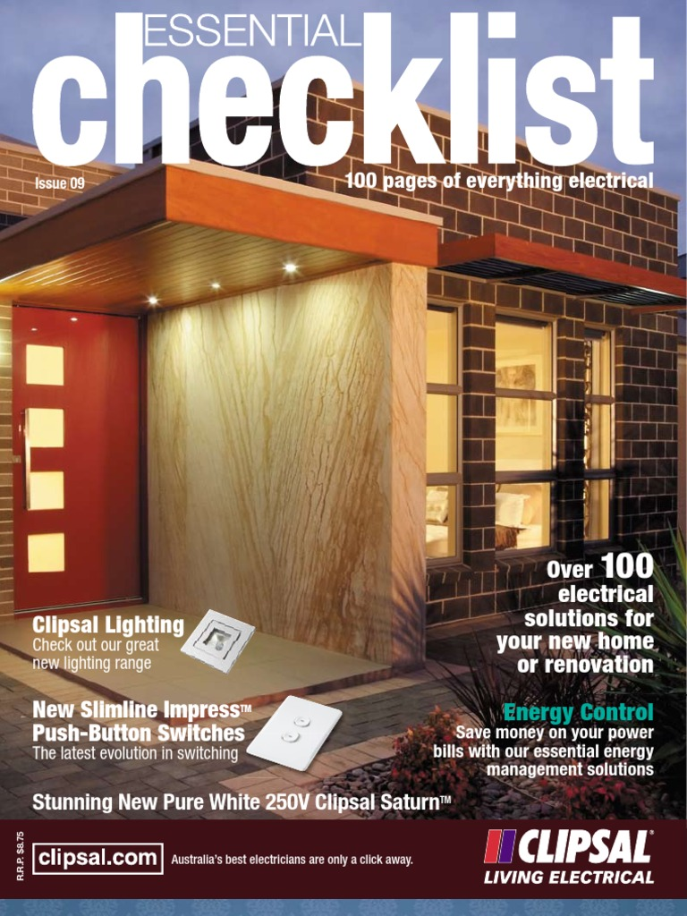 Clipsal House Electrical Plan Home Automation Checklist Compact Residential Wiring Fluorescent Lamp Lighting