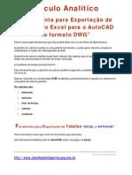 Calculo Analítico + Ferramenta Exportação de tabelas,Excel para o AutoCAD no formato DWG