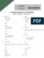 1ra Practica de Algebra Verano UNI