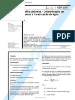 NBR 08947 - 1985 - Telha Cerâmica - Determinação da Massa e da Absorção de Água