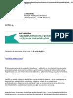 Encuentro Educacion Bilingueismo y Poblacion en Movimiento en Contextos de Diversidad Cultural 2013