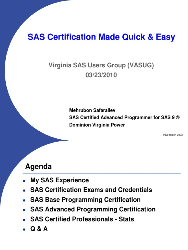 Sas Certification Made Quick And Easy Mehrubon 20100323 Sas