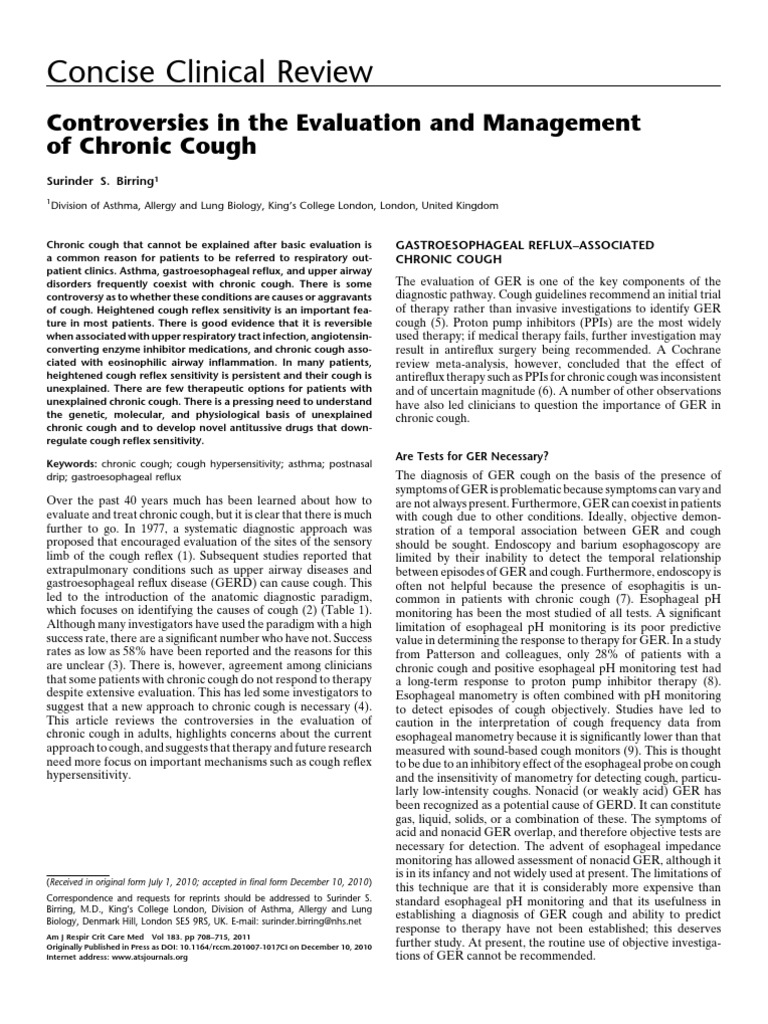 Chronic Cough Workup | Cough | Asthma