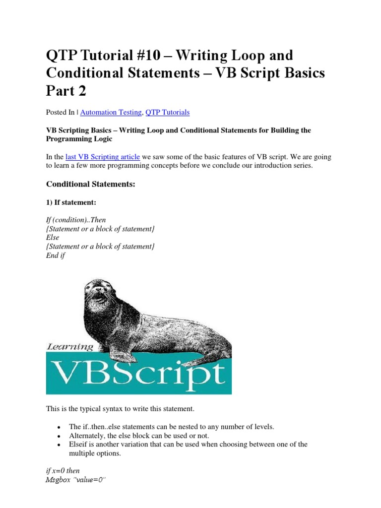 Tutorial 10 vbscript basics tutorial 2 control flow tutorial 10 vbscript basics tutorial 2 control flow computer programming baditri Image collections