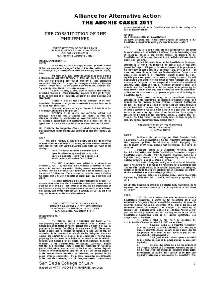 Consti Case Digests Initiative Constitutional Amendment
