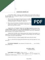 Secretary Certificate Sample