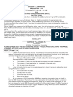 2012 Bar Exam in Mercantile Law