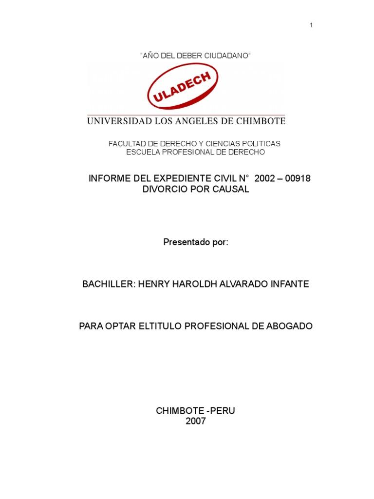 Modelo de Informe de Expediente DIVORCIO POR CAUSAL -Optar Titulo ...