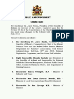 Malawi Cabinet 1July2013