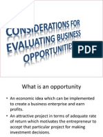 Considerations for Evaluating Business Opportunities
