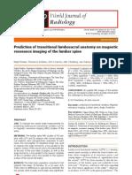 Prediction of Transitional Lumbosacral Anatomy on Magnetic Resonance Imaging of the Lumbar Spine
