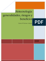 Generalidades y Riesgos de La Biotecnologia