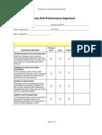 Culinary Arts Performance Appraisal