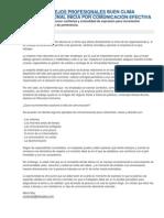 CONSEJOS PROFESIONALES BUEN CLIMA ORGANIZACIONAL INICIA POR COMUNICACIÓN EFECTIVA