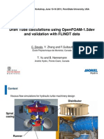 Draft Tube Calculations Using OpenFOAM-1.5dev and Validation With FLINDT Data