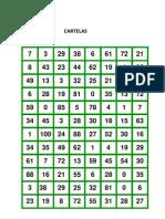 Bingo Quatro Operacoes Cartelas