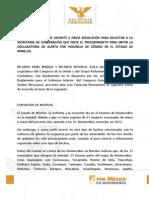 Punto de Acuerdo para Alerta por Violencia de Género en Morelos