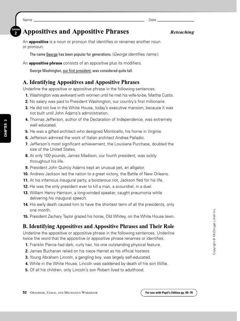 Appositive Phrases Worksheet | Abraham Lincoln | Thomas Jefferson