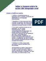 Actividades y juegos para la estimulación del lenguaje oral