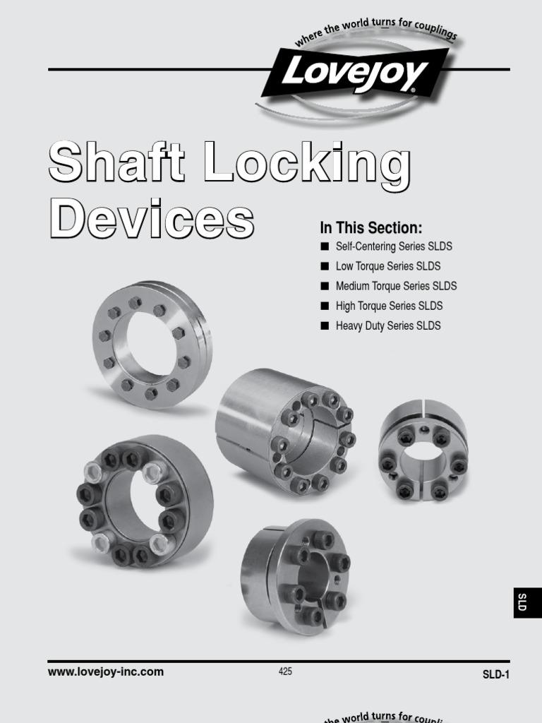 23251 ft-lb Maximum Transmissible Torque 6-7//16 shaft diameter 8.858 Outer Diameter of Shaft Locking Device Inch Lovejoy 1500 Series Shaft Locking Device