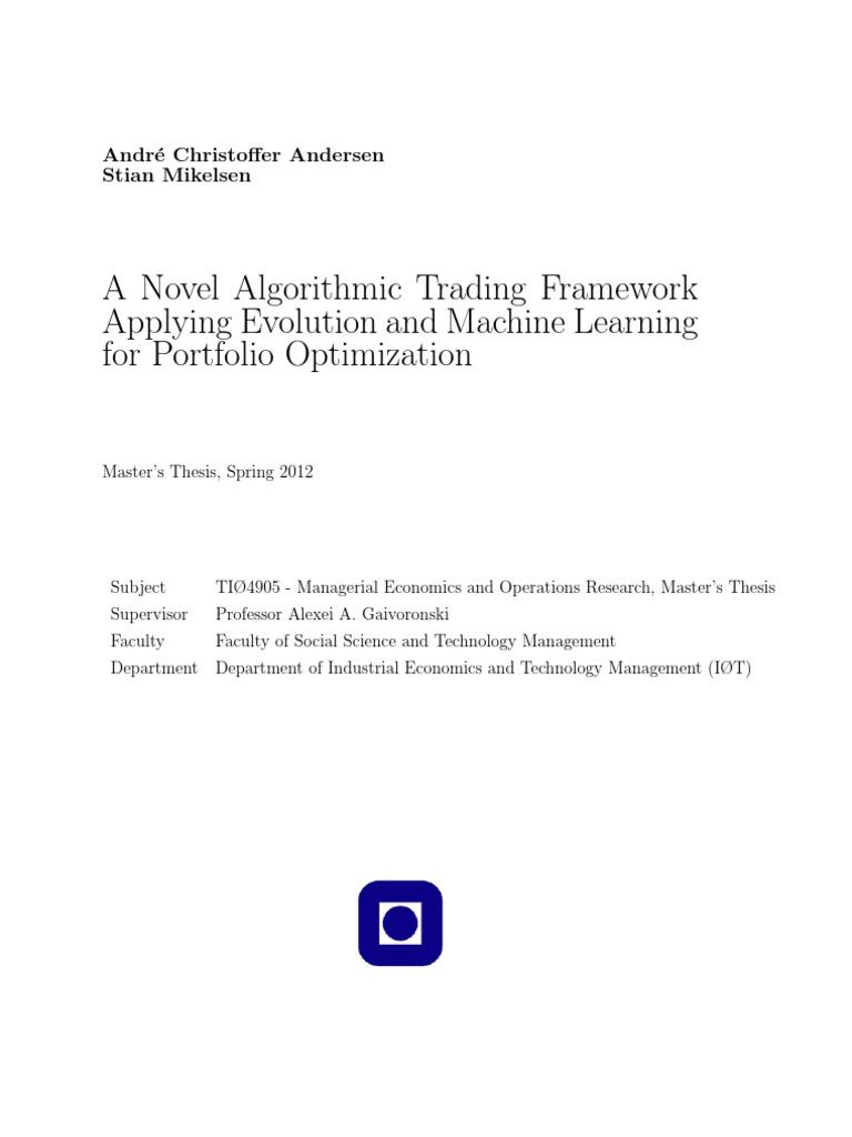 algorithmic trading machine learning