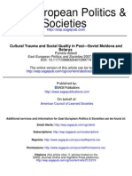 Qultural Trauma and Social Quality in Post Soviet Moldova and Belarus