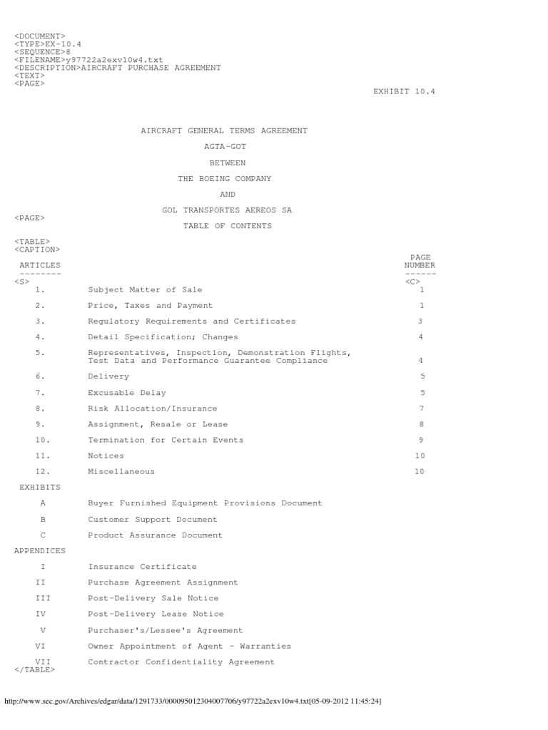 Aircraft Purchase Agreement Indemnity Boeing