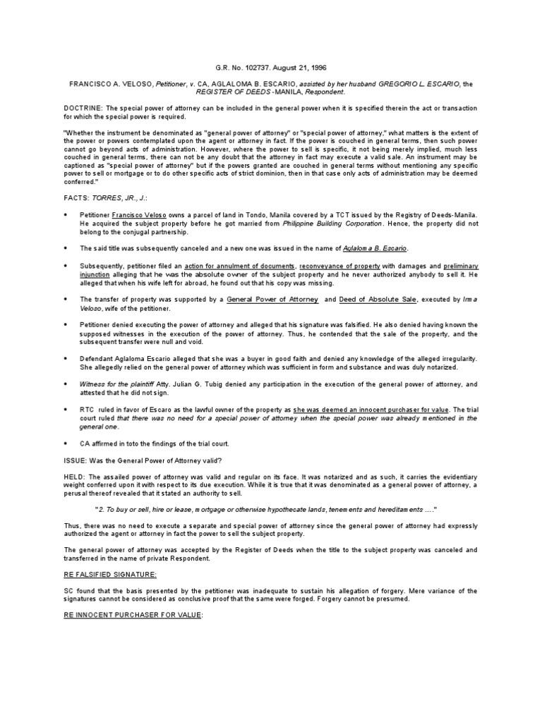 Veloso vs ca power of attorney deed falaconquin