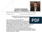 Council Member Sara M. Gonzalez Statement on CSA