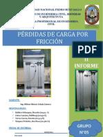 II INFORME DE FLUIDOS II (PERDIDAS DE CARGAS POR FRICCIÓN)