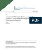 Conversion of Glycerol to Lactic Acid Under Low Corrosive Conditi