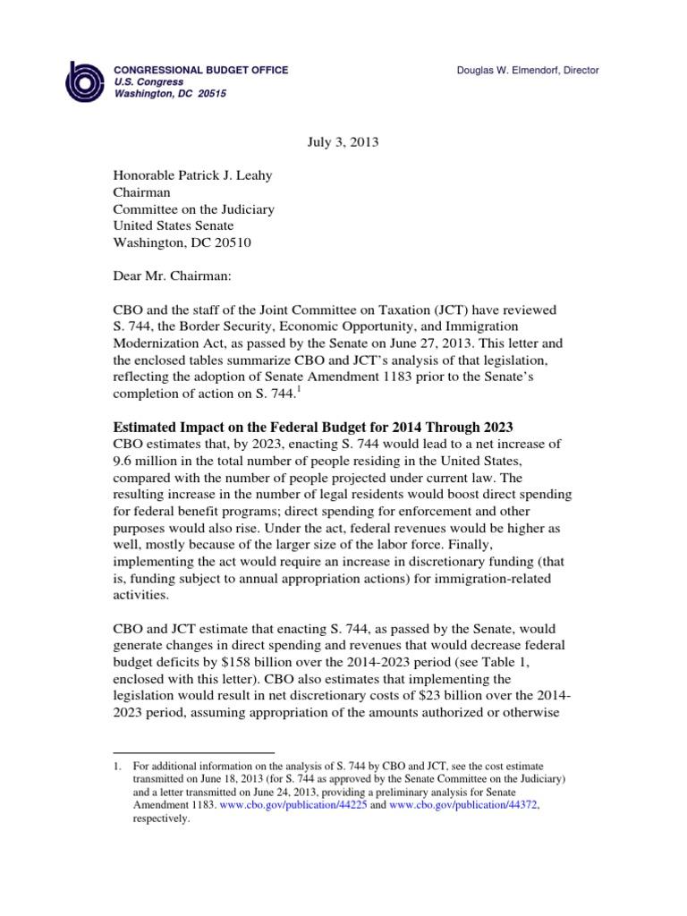 CBO's Report on S  744, Border Security, Economic