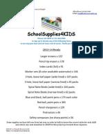 2013 SchoolSuppliesNEEDS List CRISP