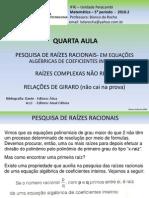 QUARTA AULA- PESQUISA DE RAÍZES RACIONAIS