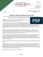 Rep Smith Biennial Budget Press Release 6-19-13