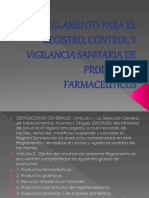 Reglamento Para El Registro, Control y Vigilancia
