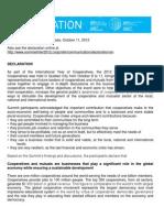 International Summit of Co-Operatives Declaration 2012