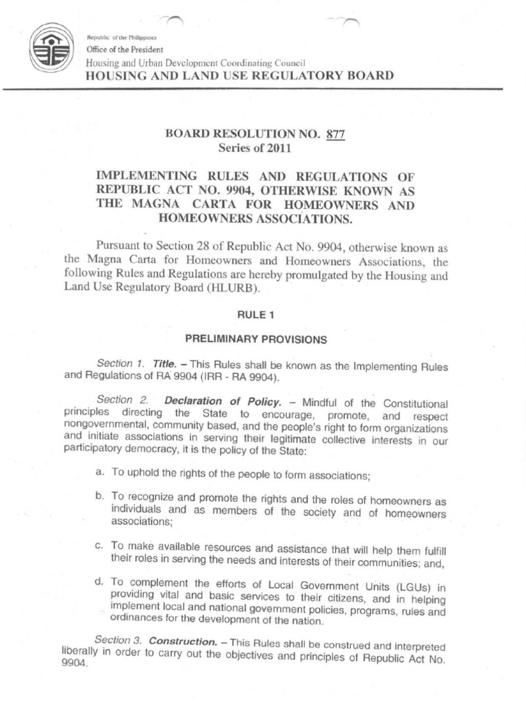 Irr Ra 9904 Hlurb Magna Carta For Homeowners Association Board Of