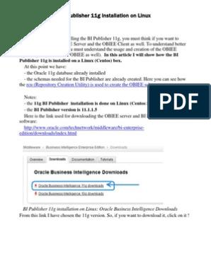 BI Publisher 11g Installation on Linux   Installation
