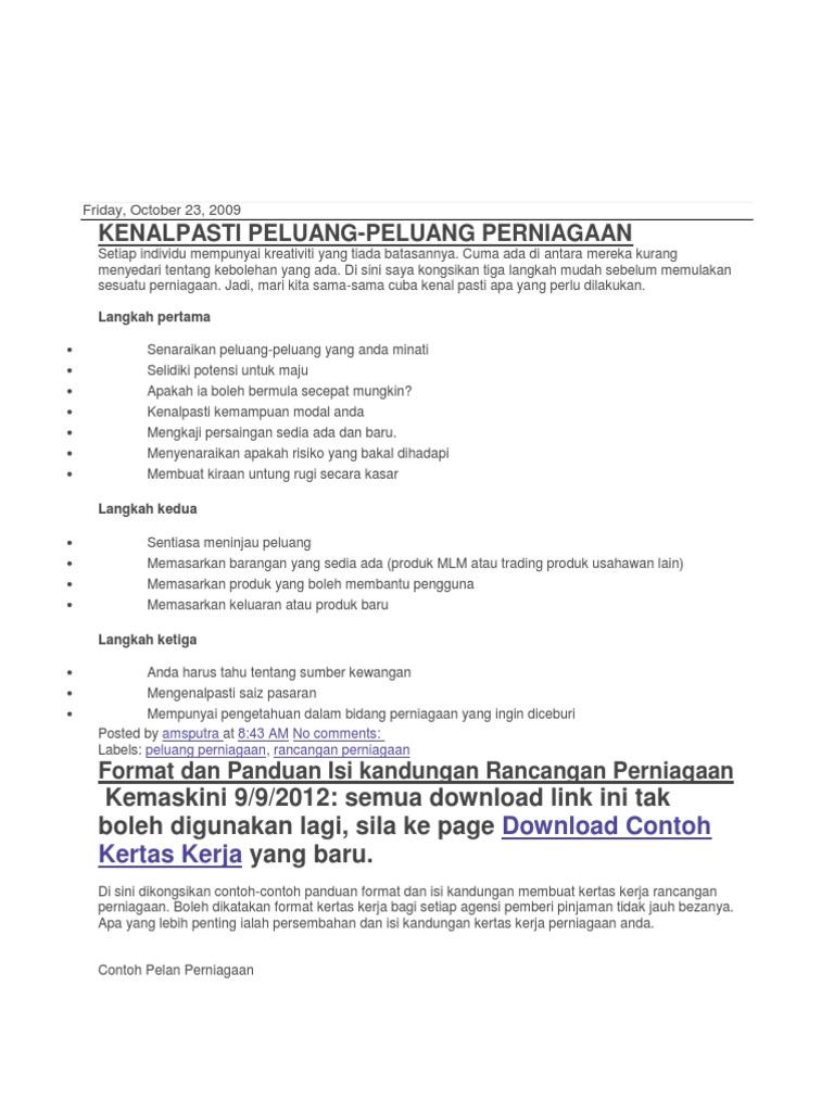 Pdf rancangan download contoh kertas kerja perniagaan