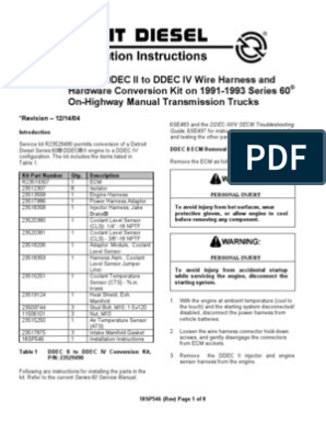 [SODI_2457]   Detroit Diesel Series 60 DDEC II to DDEC IV conversion 18SP546 | Rotating  Machines | Automotive Technologies | Detroit Series 60 Ecm Wiring Diagram Transmission |  | Scribd
