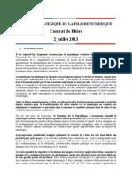 CSF Numérique - Contrat de filière - 2 juillet 2013
