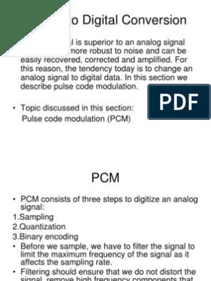 Analog to Digital Conversion | Modulation | Digital Signal