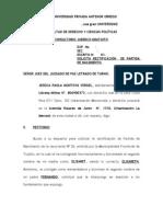 SOLICITA RECTIFICACIÓN  DE PARTIDA DE NACIMIENTO