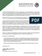 Secretary Alicé Leuchte - Resignation From the Alaska Republican Party