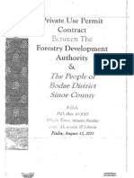 Private Use Permit Between The Forestry Development Authority and the People of Bodae, Sinoe County August 12, 2011