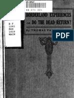 Thomas Parker Boyd - Borderland Experiences, Or Do the Dead Return (1919)