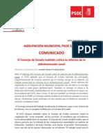 Agrupación Psoe Zafra Informa. Informe CGTS. Consejo General del Estado. Reforma Administración Local