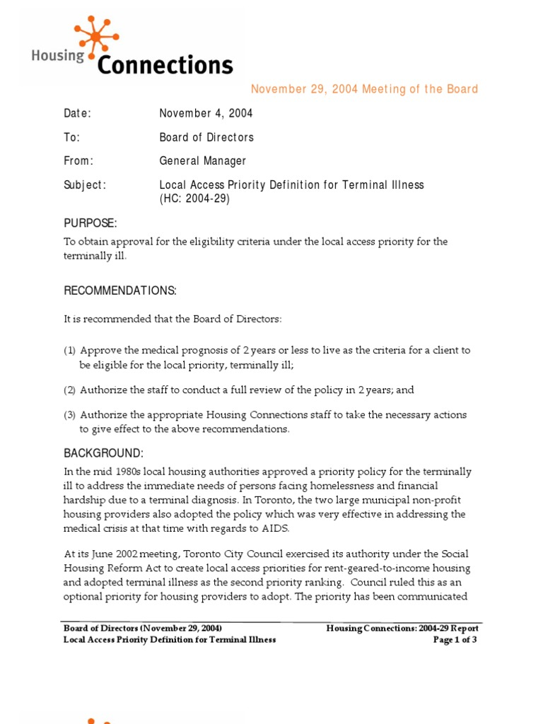 board meeting on definition of terminal | hiv/aids | public housing
